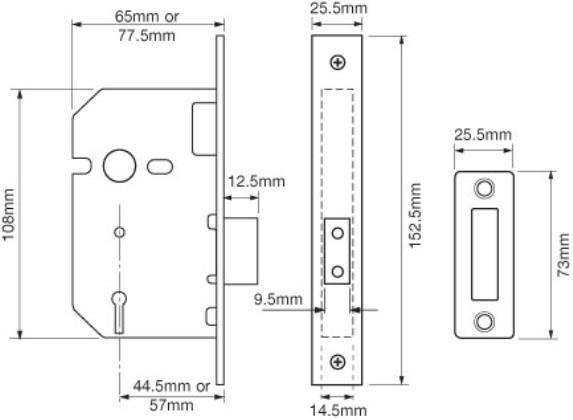 Union 3 Lever Mortice Deadlock 63mm Satin Chrome - LOCKS - LOCKS